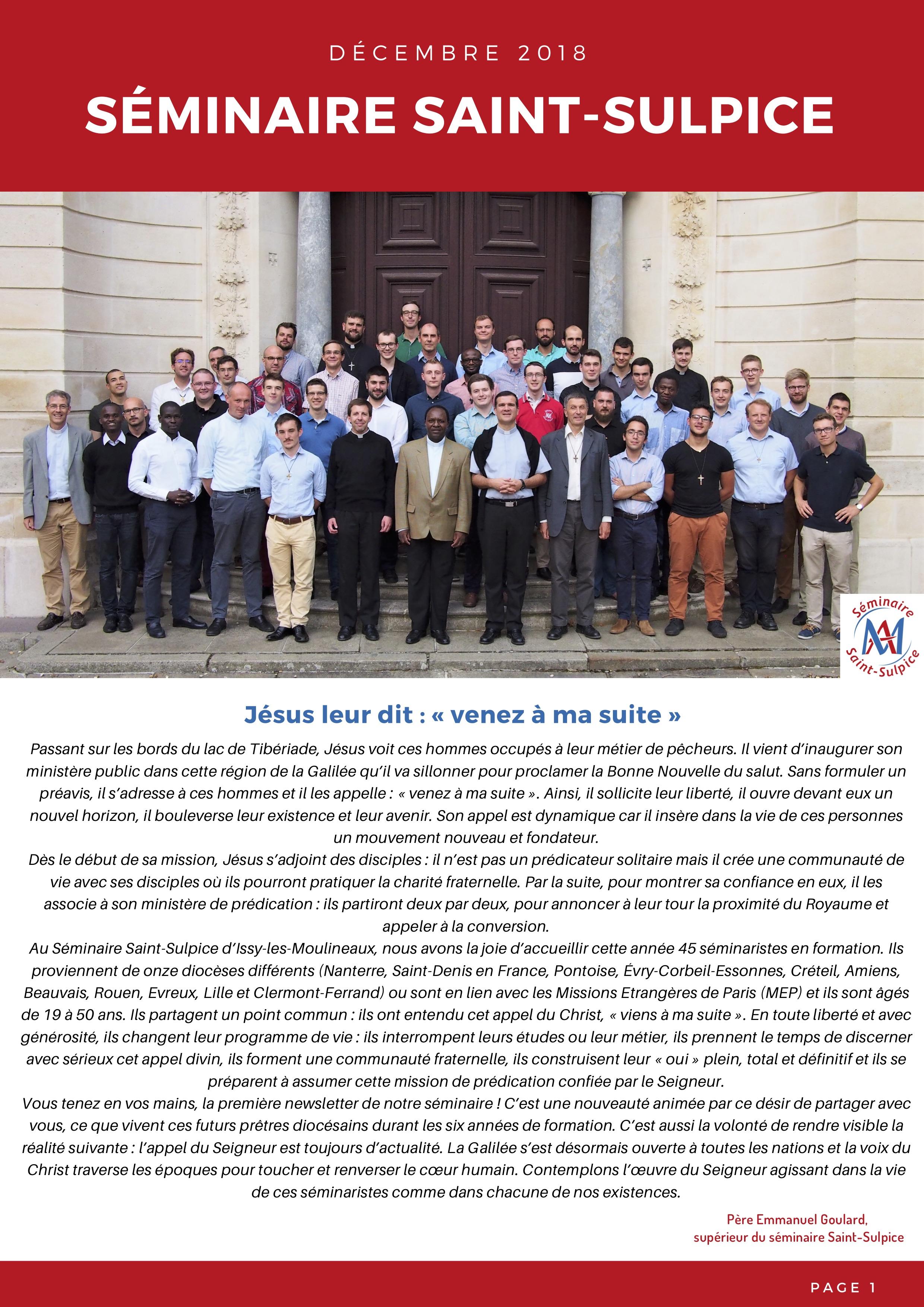 Newsletter Séminaire Saint-Sulpice décembre 2018 - p1